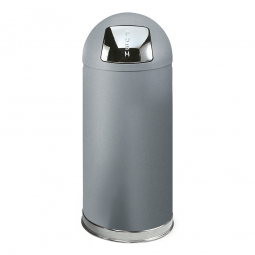 Push-Abfallbehälter, 56 Liter, verzinkter Stahl, Farbe grau