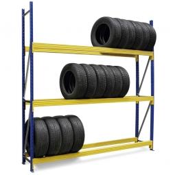 Weitspann-Reifenregal, BxTxH 2780 x 400 x 2500 mm, Fachbreite 2700 mm, Tragkraft je Fach 950 kg