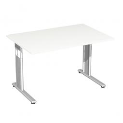 Schreibtisch ELEGANCE feste Höhe, Dekor Weiß, Gestell Silber, BxTxH 1200x800x720 mm