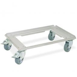 Edelstahl-Transportroller für 600 x 400 mm Behälter, 4 Lenkrollen davon 2 mit Feststellbremse, Räder mit grauen Gummilaufflächen