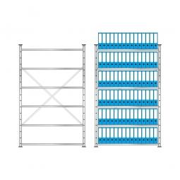 Fachbodenregal mit 6 Böden, Stecksystem, Grundregal, einseitige Ausführung, BxTxH 1270 x 315 x 2000 mm, Oberfläche glanzverzinkt