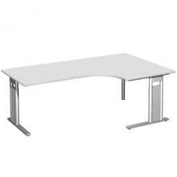 Schreibtisch PREMIUM, Tischansatz rechts, Lichtgrau/Silber, BxTxH 2000x800/1200x680-820 mm