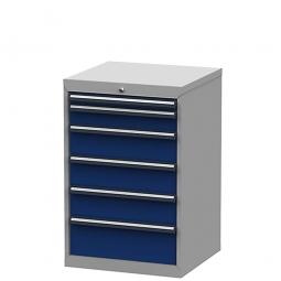 System-Schubladenschrank mit 6 Schubalden, BxTxH 600x575x920 mm, lichtgrau/enzianblau