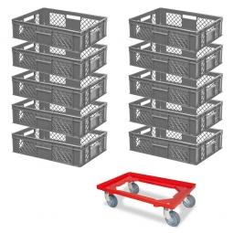 10x Euro-Stapelbehälter + 1 Transportroller GRATIS, Farbe grau, LxBxH 600 x 400 x 150 mm