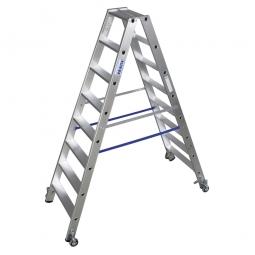 Alu-Stufen-Doppelleiter mit 2x 8 Stufen, fahrbar, Leiterhöhe 1900 mm, max. Arbeitshöhe 3650 mm, Gewicht 10,8 kg