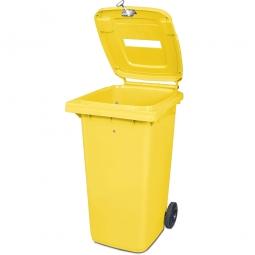 Müllbehälter mit Papiereinwurf, verschließbar, 240 Liter, gelb