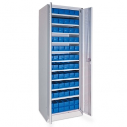 Schrank mit Regalkästen, blau, LxBxH 400 x 91 x 81 mm, Türen in lichtgrau RAL 7035
