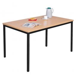 Kantinentisch, BxTxH 1600x800x750 mm, Gestell schwarz, Tischplatte Buche-Dekor, 25 mm stark