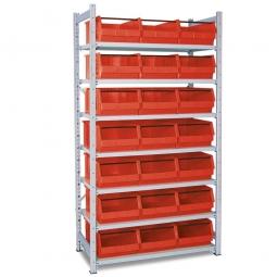 Steckregal, verzinkt, HxBxT 2000x1070x515 mm, 7 Böden, 21 Sichtboxen LB 2T Farbe rot