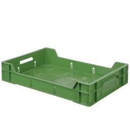 Eurobehälter, geschlitzt, PE-HD, LxBxH 600 x 400 x 120 mm, 12 Liter, grün