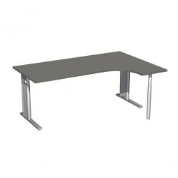 Schreibtisch PREMIUM, Schrankansatz rechts, Graphit/Silber, BxTxH 1800x800/1200x680-820 mm