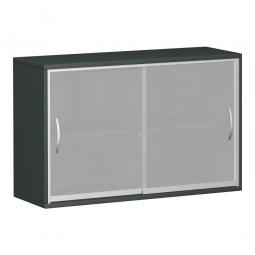 Glas-Schiebetürschrank PRO 2 Ordnerhöhen, graphit, BxHxT 1600x768x425 mm