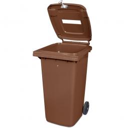 Müllbehälter mit Papiereinwurf, verschließbar, 240 Liter, braun