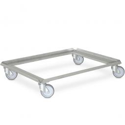Edelstahl-Transportroller für 800 x 600 mm Behälter, graue Gummiräder, Deck offen, Tragkraft 250 kg