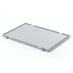 Scharnierdeckel für Euro-Stapelbehälter, LxB 600 x 400 mm, Farbe grau