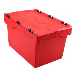 Universal Klappdeckelbox, verplompbar, LxBxH 600 x 400 x 350 mm, 58 Liter, rot