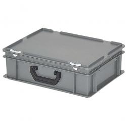 Euro-Koffer mit Tragegriff, PE-HD, LxBxH 400 x 300 x 130 mm, 11 Liter, 2 Griffleisten, grau