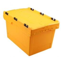 Universal Klappdeckelbox, verplompbar, LxBxH 600 x 400 x 350 mm, 58 Liter, gelb