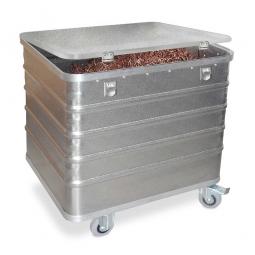 Transportwagen aus Leichtmetall, mit Deckel, 223 Liter, LxBxH 730x580x742 mm, Tragkraft 200 kg