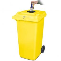 Verschließbarer Müllbehälter mit Flascheneinwurf und Gummirosette, 240 Liter, gelb