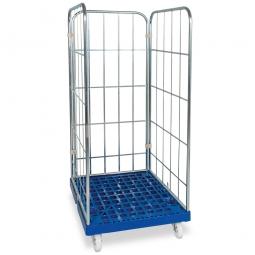 Gitterrollwagen für Eurobehälter, LxBxH 815 x 682 x 1660 mm, 3-seitig, blau