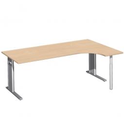 Schreibtisch PREMIUM, Schrankansatz rechts, Buche/Silber, BxTxH 2000x800/1200x680-820 mm