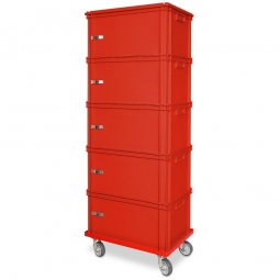 Archiv-Ordnerturm mit Roller, 5 Behälter in rot