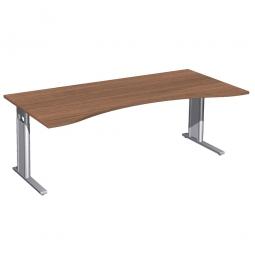 Schreibtisch PREMIUM höhenverstellbar, Nussbaum/Silber, BxTxH 2000x800/1000x680-820 mm