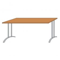 Schreibtisch mit Bogenformgestell, weißaluminium, Platte Buche, BxTxH 1600x800x720 mm