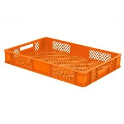 Durchbrochener Eurobehälter mit 2 Durchfassgriffen, LxBxH 600x400x90 mm, 15 Liter, orange