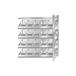 Schüttgut-Steck-Anbauregal, HxBxT 2000x1510x525 mm, Mit 4 Wannenbodenebenen, 16 Schüttfächern und 1 Fachbodenebene