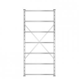 Fachbodenregal mit 7 Böden, Stecksystem, Grundregal, einseitige Ausführung, BxTxH 1070 x 315 x 2300 mm, Oberfläche glanzverzinkt