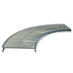 Klein-Rollenbahnkurve 90°, Innenradius: 800 mm, Bahnbreite: 400 mm, Achsabstand: 37,5 mm, Tragrollen Ø 30x1,0 mm