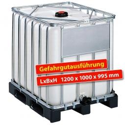 IBC-Container, 800 Liter, auf Kunststoffpalette, LxBxH 1200 x 1000 x 995 mm, weiß, Gefahrgutausführung