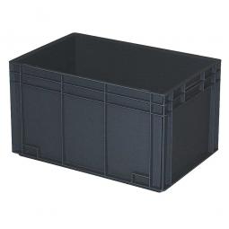 Leitfähiger Stapelbehälter, 2 Griffleisten, LxBxH 600 x 400 x 420 mm, 80 Liter, schwarz