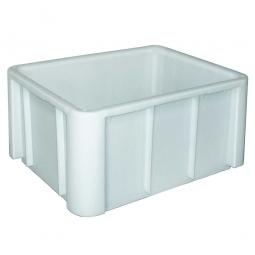 Lebensmittel-Großbehälter, LxBxH 800x600x405 mm, weiß, Boden und Wände geschlossen, glatter Boden