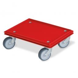 Transportroller für 400 x 300 mm Eurobehälter, geschlossenes Deck, 4 Lenkrollen, graue Gummiräder, rot