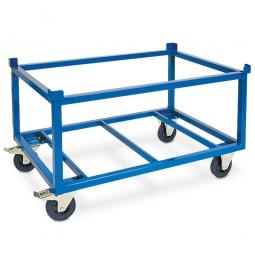 Fahrgestell für Paletten, Gitterboxen und Behälter, Ladefläche LxBxH 1210x1010x700 mm, Tragkraft 750 kg, Rad-Ø 160x50 mm, Vollgummibereifung