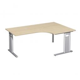 Schreibtisch PREMIUM, Tischansatz rechts, Ahorn/Silber, BxTxH 1800x800/1200x680-820 mm