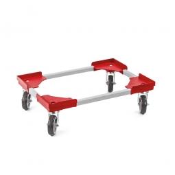 """Transportroller """"VARIO"""" für Euro-Stapelbehälter 600 x 400 mm, grau-rot, 4 Lenkrollen, graue Gummiräder"""