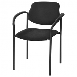 Besucherstuhl mit Armlehnen, Gestell und, Polster schwarz, stapelbar, BxTxH 500x550x820 mm.