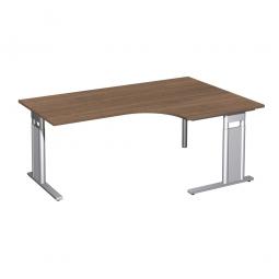 Schreibtisch PREMIUM, Tischansatz rechts, Nussbaum/Silber, BxTxH 1800x800/1200x680-820 mm