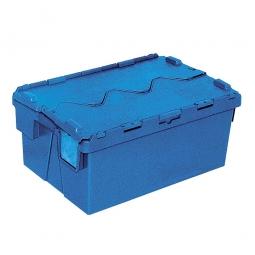 Mehrwegbehälter mit anscharnierten Deckeln, ALC64265, blau, LxBxH 600x400x265 mm