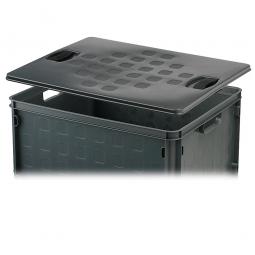 Auflagedeckel, grau, für leichte Stapelbehälter, LxB 506x406 mm,