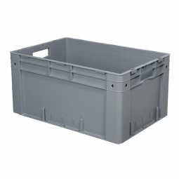 Schwerlast-Eurobehälter, geschlossen, PP, LxBxH 600 x 400 x 270 mm, 50 Liter, 2 Durchfassgriffe, grau