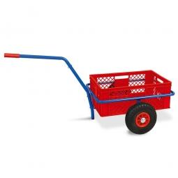 Handwagen mit Kunststoffkorb, H 240 mm, rot, LxBxH 1250 x 640 x 660 mm, Tragkraft 200 kg