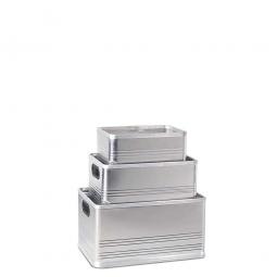 Aluminium-Kästen-Set, je 1x 14, 29, 50 Liter