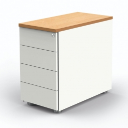 """Anstell-Container """"BUDGET"""" BxT 430x800 mm, höhenverstellbar, weiß/Ahorn"""