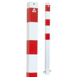 Absperrpfosten, sichtbare Höhe 900 mm, rot/weiß, Vierkant 70x70 mm, feste Ausführung, zum einbetonieren