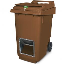 Streugutbehälter mit Entnahmeöffnung und Schließung, braun, 360 Liter, HxBxT 1100 x 600 x 875 mm